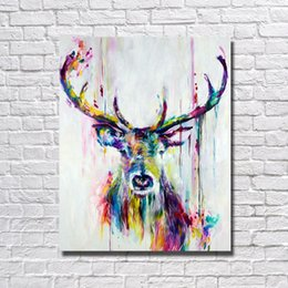 Wholesale Deer Art - 1Peices Wall Canvas Art Abstract Deer Painting Living Room Wall Decor Pictures Hand Painted Nice Animal Oil Painting No Framed