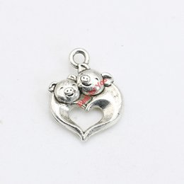 Wholesale Antique Pig - 30pcs Antique Silver Plated Pig Charms Pendants Bracelet Necklace Jewelry Making Accessories DIY 17x14mm