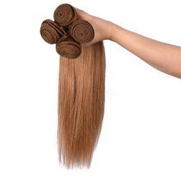 erdbeere blonde haarverlängerungen weft Rabatt 9A Seidiges Gerades Brasilianisches Haar 1 STÜCKE Honig Blonde Gerade Haarverlängerungen Blonde # 27 Strawberry Blonde Menschliche Haar Weave Weft