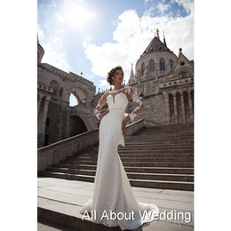 Wholesale Sheath Wedding Dresses Jewels - Lace Long Sleeve Wedding Dresses with Button Back Decoration Sheath Sexy Bridal Gown Robe De Mariage
