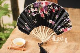 Wholesale Satin Umbrella - Japanese Style black purple Satin folding fan silk top grade bridal fans Bridesmaid fans hollow bamboo handle wedding accessories Fold fans
