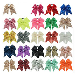 """Wholesale Bling Hairbands - 8"""" Fashion Handmade Sequin Bling Cheer Bows for Girl Children Kids Boutique Sequin Hair Accessories with Elastic"""