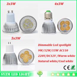 Wholesale Mr16 Led 12v 15w Epistar - Dimmable Led spotlight 9W 12W 15W high power cup light E27 E14 GU10 GU5.3 light 110V 220V 12V