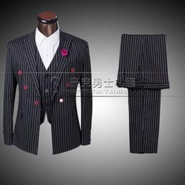 Wholesale Mens Vest Tie Sets - Wholesale-Black 2016 new arrival stripe men set mens suits groom formal dress Groom Tuxedos wedding coat suit JACket+ pant +Vest+ tie