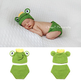 Wholesale Baby Frog Hat Set - Baby Boy Clothes Knitted Frog Shape Hat Set Infant Photo Props Baby Photography Props Frog Shape Crochet Newborn Boys BP109