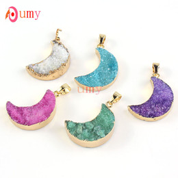 Wholesale Modern Rocks - Wholesale 10Pcs Gold Plated Druzy Multi Style Rock Crystal Colored Half Moon Modern Pendants Charms Jewelry