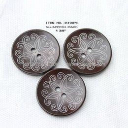 Wholesale Hat Parts - wholesale(60pcs lot) large wooden buttons bulk for garment accessories hat bag parts 35mm-BY0076