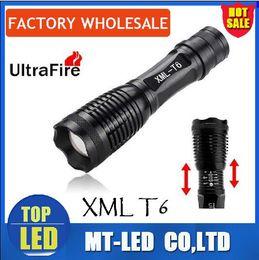 Wholesale Black Aluminum Alloy Led - top hot Cree XML T6 Black Urtrafire LED Flashlights Durable Flashlight Light LED Torches for Camping 1800 Lumen Aluminum Alloy Material