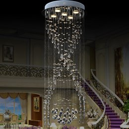 Wholesale Large Traditional Chandelier - VALLKIN Modern K9 Large LED Spiral Living Room Crystal Chandeliers Light Fixtures for Staircase Stair Hotel Indoor Deco Lamp
