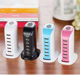 Wholesale Pc Power Plugs - Smart Android phone Power Tower 8A 6 port USB charger multi usb charger travel US EU UK AU Plug power for IPAD Iphone tablet PC 10pcs lot