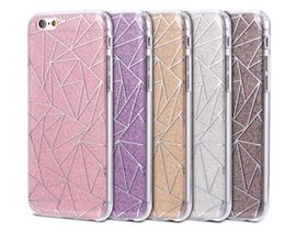 Wholesale Gold Pattern Framing - Shiny Bling Soft TPU Frame Hard PC Glitter Cover For Iphone 8 8plus 7 7plus 6 6s 6plus Diamond Grid Pattern Back Case