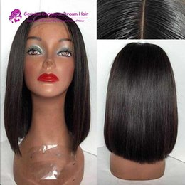 Wholesale Short Bobbed Hairstyles - glueless bob lace front human hair wigs 130% density No Shedding Brazilian bob straight full lace wig with baby hair