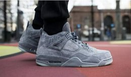 Wholesale X Cork - 2017 New Air Retro 4 IV x Kaws Cool Grey men Basketball Shoes top Quality Sports With Box wholesale size 8-13