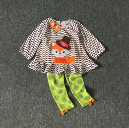 Wholesale Winter Clothes For Little Girls - Girls Halloween cloth Kids Rare editions Little Fox print outfit Girl Holiday Clothes 8Sets lot for 2-8T Hot sale