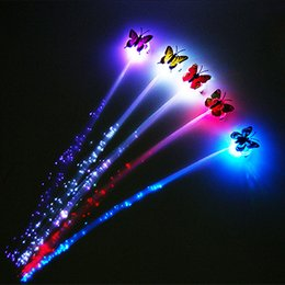 Wholesale Optic Fiber Cheap - Cheap Led Flash Hair Braid Luminous Light Up LED Hair Extension Party Hair Glow Fiber Optic Butterfly Led Night Lights with Clip