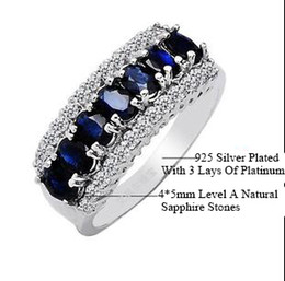 Wholesale Natural Stone Rings Sterling Silver - New Sapphire Ring 925 Sterling Silver 7 Pieces Special Level A Natural Sapphire Stones Lady's 14KT Platinum Filled Ring Europe and USA Retr