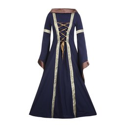 Wholesale Medieval Movie - Halloween Historical Adult Women Clothing Vintage Victorian Medieval Renaissance Cosplay Outfit Hooded Gown Costume Dress Multicolor S-XXL