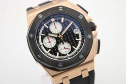 Wholesale Offshore Black - luxury brand new watch men royla oak offshore watch sports quartz chronograph black rubber Strap gold case watch men dress watches