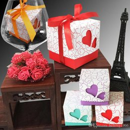 Wholesale Candy Packing Bags - Candy Box Laser Cut Love Heart Shape Square Sweet Case With Exquisite Ribbon Party Gift Packing Wedding Candies Bag 0 25xc F R