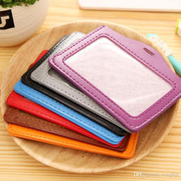Wholesale Credit Card Holder Lanyard - Name Credit Card Holders Women Men PU Bank Card Neck Strap Card Bus ID holders candy colors Identity badge with lanyard H210480