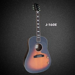 Wholesale Electric Acoustic Guitar Solid Top - OEM handmade John lennon 160E acoustic electric guitar,Spruce solid top,free shipping