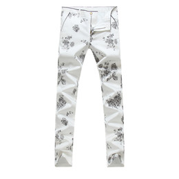 Wholesale Fashion Brands Drawings - Wholesale-2016 NEW Men printing Coloured drawing or pattern Nightclubs pants,Famous Brand Fashion Denim casual pants Men,plus-size 28-36