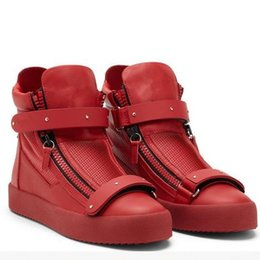 Wholesale Thick Lace Appliques - Top designers new men women casual shoes zanottis luxury brand,red genuine leather thick bottom high-top zanottys sneakers flats size:35-46