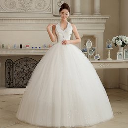 Wholesale Hot Wedding Dresses Plus Size - Hot Selling White Bride Sexy Scalloped Gown Wedding Dresses Lace-Up Floor-length Women Married Sequins Lace A-Line Dresses Plus Size