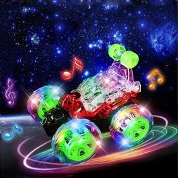 Comercio al por mayor truco coche rodante música de control remoto coche de control remoto de carreras de carreras de coches molde de carga kid juguete coche regalo de vacaciones desde fabricantes
