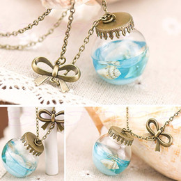 Wholesale Sea Shell Fashion - Wholesale-1pc Fashion Sea Ocean Glass Bottle Pendant Mermaid Tears Shells Star Vial Necklace