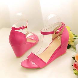 Wholesale New Style Fashion Lady Shoes - Ladies Ankle Wrap Shoes New Summer Style Open Toe Shoes High Heels Platform Wedges Sandals