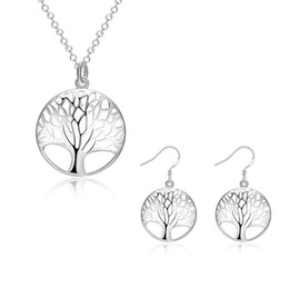 Wholesale Wholesale Tree Sterling Charm - Fashion Women 925 Sterling Silver Plated Life Of Tree Charm Pendant Necklace Earrings Bridal Jewwlry N802