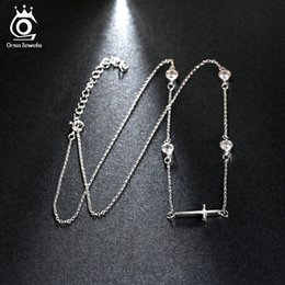 Wholesale Mum Necklaces - Cute Silver Cross Pendant with 4 Pieces Charming Austrian Crystal 18K White Gold Plated Necklace Gift for Mum Girlfriend ON117