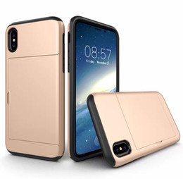 Wholesale iphone tpu id cases - SGP spigen case Slide Card Slot Wallet ID Case Dual Layered -ShoAntick Protector for iPhone x 8 8plus Samsung Note8 S8 S8plus