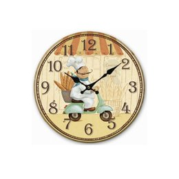 Wholesale Wooden Digital Wall Clock - Wholesale- Hot Selling Home Decor European Rural Country Style Kitchen Wall Clock Round Wooden Clock Digital Clock Free Shipping