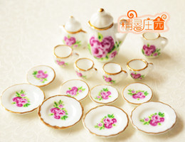 Wholesale Rement Miniature - G05-X4328 children baby gift Toy 1:12 Dollhouse mini Furniture Miniature rement ceramics tea set 15pcs set Purple Rose