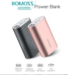 Wholesale Romoss Battery Pack - ROMOSS ACE 10000mAh Dual USB Outputs Aluminum Alloy External Battery Pack Power Bank For Tablets Smartphone iPhone 7 7plus