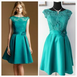 Wholesale Teal Dress Knee Length - Elegant Real Picture Teal Green Lace and Satin Knee-Length Sheer Crew Cap Sleeve Formal Party Bridesmaid Dresses