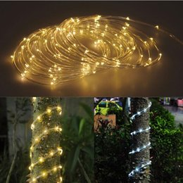 Wholesale Leds Solar Cells - 10M 100 LEDs Solar LED String Strip Light Waterproof Copper Wire String Lights Warm White Cool White For Outdoor Christmas Party
