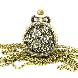Wholesale Wholesale Nice Watches - Wholesale-vintage bronze fragrant sweet smell beautiful cute nice flower bloom long chain necklace pocket watch P542