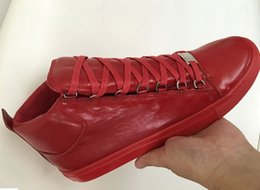 Wholesale Hiphop Leather - New Brand Unisex Hiphop Casual Men Sneakers Genuine Leather Sheepskin Arena Lace-up Luxury Kanye West Trainers High Top Shoes 35-46