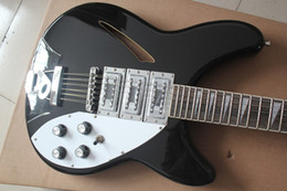 Wholesale Semi Acoustic Electric Guitars - Roger McGuinn limited RIC Jetglo 370 12 strings Semi-Acoustic Electric Guitar Black, Triangle White MOP Fingerboard Inlay 3 Pickups