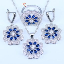Wholesale Women Blue Topaz Wedding Ring - Flower Blue Black colorful 925 Silver Jewelry Sets For Women Earrings Necklace Pendant Ring
