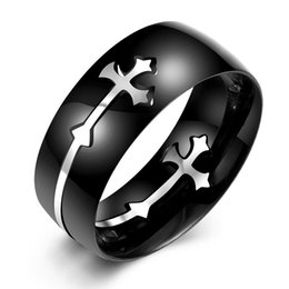 Wholesale Cross Rings For Sale - Hot Sale Fashion Separable Cross Ring for Men Woman Black Color Stainless Steel Rings Christmas Gifts Cool Male Design Jewelry Cross Rings
