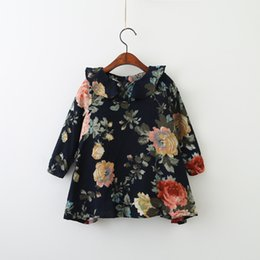 Wholesale Wholesale Baby Print Tutus - Everweekend Children Kids Autumn Print Flowers Ruffles Dress Sweet Baby Ruffles Floral Dress Clothing Clothes New Arrival