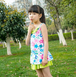 Wholesale 12 Years Swimsuit - Summer New star flower printing Kid rainbow swimsuit One-piece lovely princess girls dresses swimsuit 8-12 years old