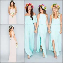 Wholesale Bohemian Style Lighting - Bohemian Cheap Chiffon Bridesmaid Dresses 2016 Mixed Styles Summer Beach Maid Of Honor Gowns A Line Long Formal Party Gowns BA2087