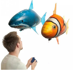 Wholesale Electric Fishing Toy - Air Swimmers Flying Shark Clown Fish Remote Control Fly Clownfish blimp floating Sharks Toys Inflatable helium Balloons RC Air Swimmer Toys