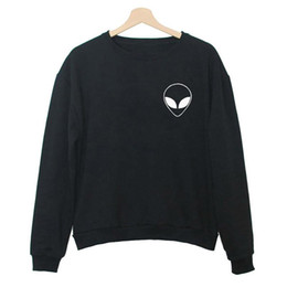 Wholesale Alien Sweater - 2016 New Pattern Alien Printing Black And White Autumn Heat All-match Pin Long Sleeve Self-cultivation Round Neck Sweater backpack usa