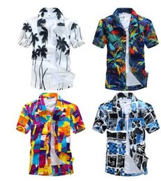 Wholesale Wholesale Hawaiian Shirts - Wholesale-2016 fashion Men's Tropical Hawaiian Shirts Full Floral Short Sleeve Casual loose Large size Beach Party Shirts Tops size